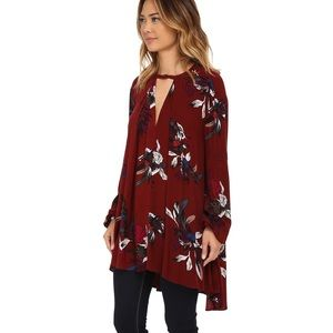 Free People Tree Swing Tunic Scarlet Orchid Small
